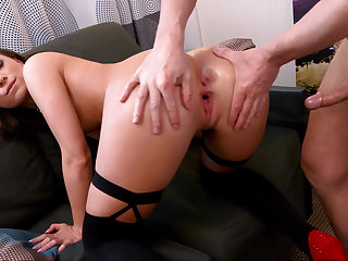 Mollycoddle in stockings riding a hard pecker